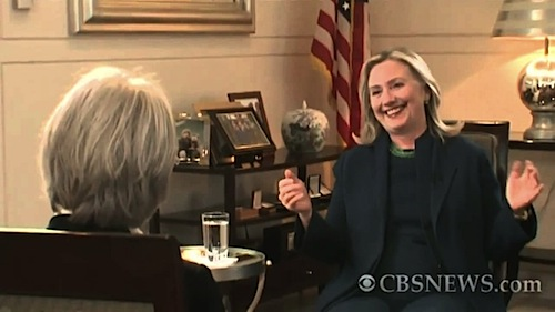 Hillary Clinton Interviewed.  Credit: CBS News and The Ron Paul Institute